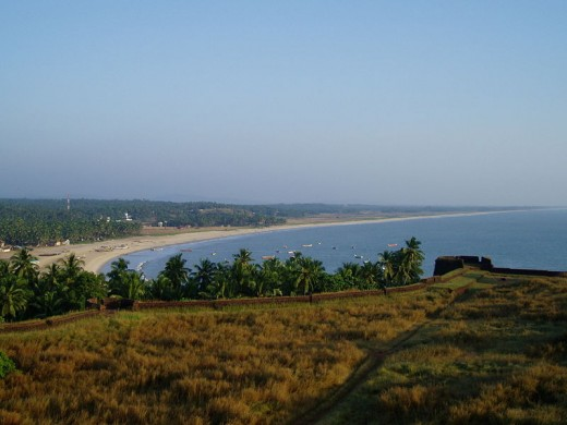 An evening view of the Kasaragod Beach from Bekal Fort