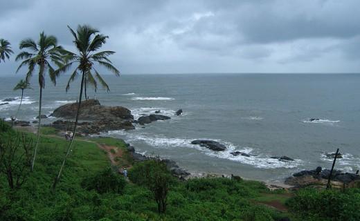 A beach at Goa with sky overcast