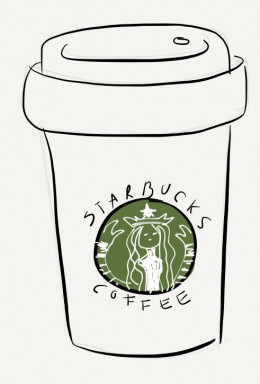 Badly drawn starbucks coffee...still delicious!