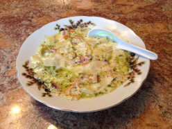 Potato and Bacon Soup with Tri-Color Farfalle and Other Veggies
