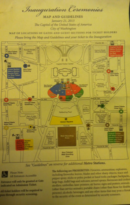 The Inauguration Ceremonies Map and Guidelines shows the viewing areas for each color. This map will be included in the packet you receive from your congressman.