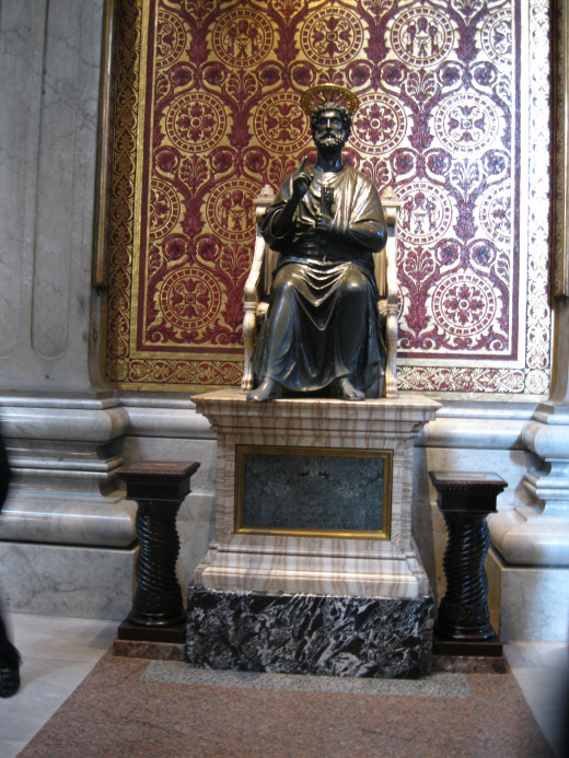 Bronze Statute of St. Peter, the first Pope, in St. Peter's Basilica in Rome.