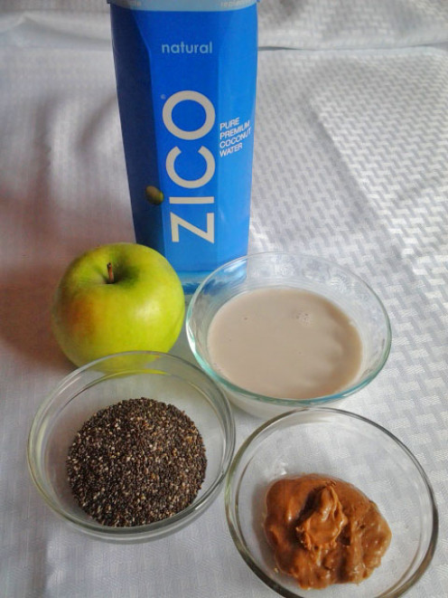 Coconut water, green apple, seeds, almond milk and almond butter