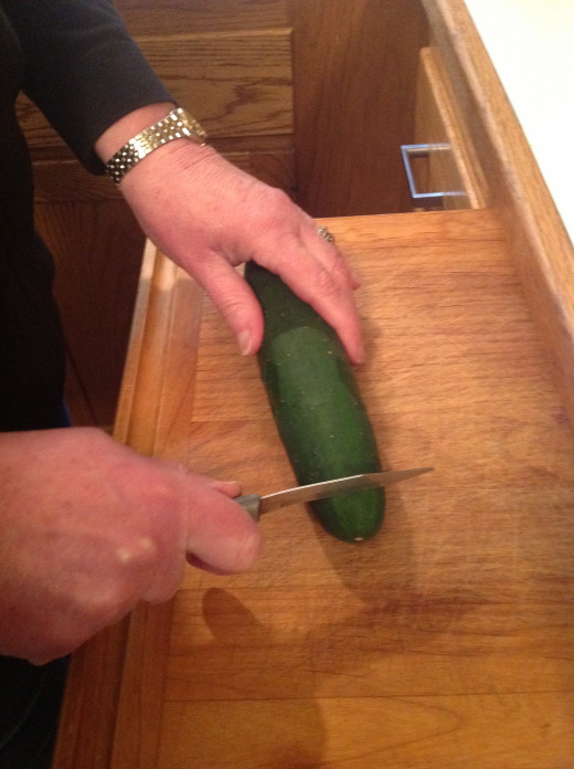 Prepping the Cucumber