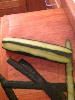 Peel part of the cucumber
