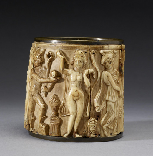 This circular Pyxis or box depicts two scenes. The one shown presents Hermes awarding the golden apple of the Hesperides to Aphrodite, whom he has selected as the most beautiful of the goddesses.[99] The Walters Art Museum.