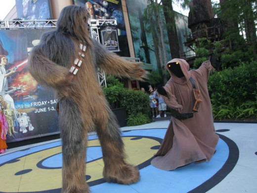 Chewbacca Dancing with a Jawa: Don't miss the Hyperspace Hoopla at the end of the day!