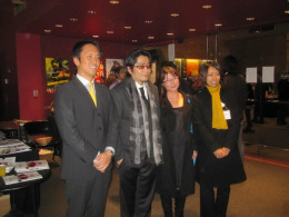 A picture of director Keishi Otomo and his entourage.