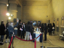 During the after-dinner party, a large amount of people headed for the food line which had some excellent options.