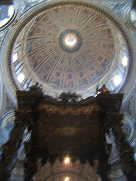 The high altar and dome, St Peter's basilica, Rome.