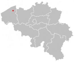 Map location of Bruges, Belgium