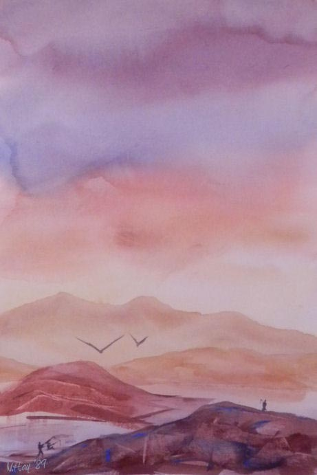 Lake Dusk and Dawn - watercolor