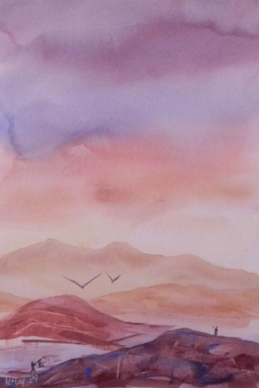 Lake Dusk and Dawn - watercolor