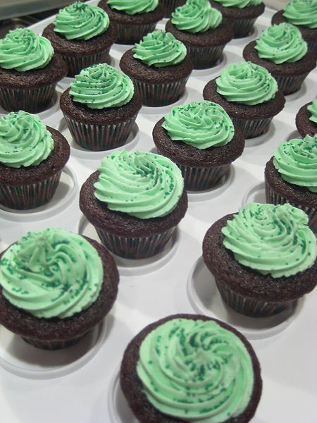 Chocolate Stout cupcakes with Bailey's Irish Cream frosting for St Patrick's Day.