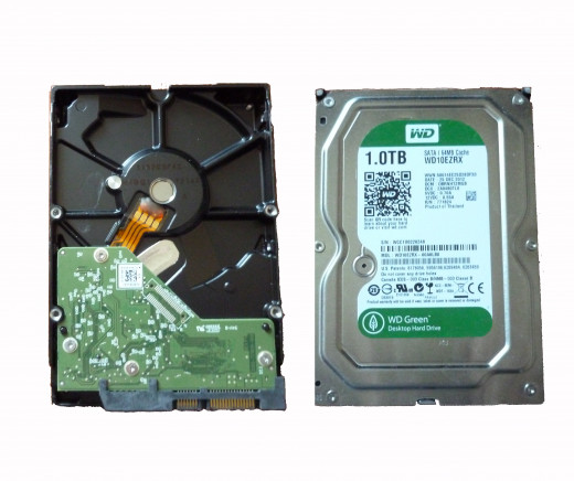Dorsal and ventral views of a modern SATA drive