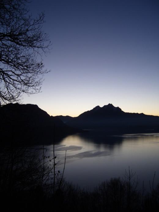 Moonlight on Lake Lucerne in Switzerland