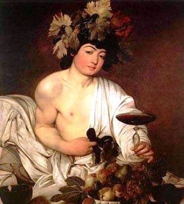 Dionysus - Greek god of wine and festivities. Taught men how to cultivate grapes and on occassion rescued drowning sailors by turning them into dolphins. As you do.