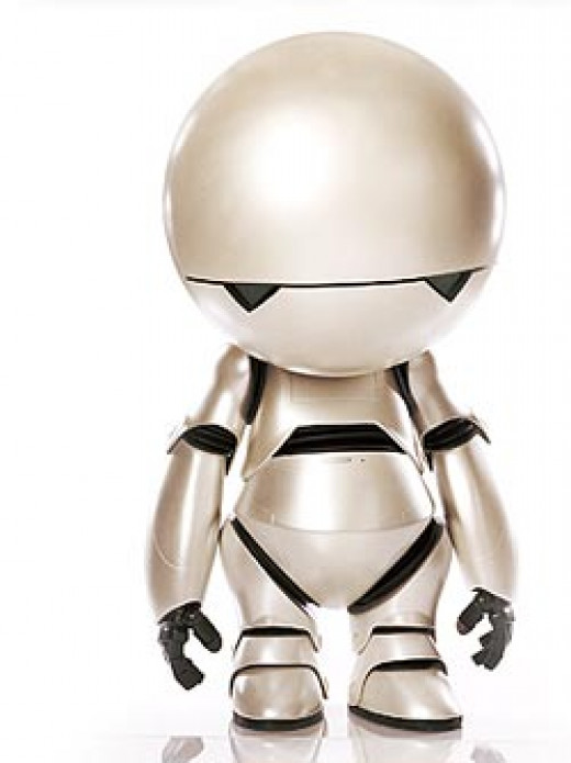Marvin - a failed prototype, Marvin was experimentally gifted with depression, boredom and a massive intellect when he was built.
