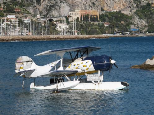 Light seaplane in the port of Garavan in Menton (Alpes-Maritimes, France).