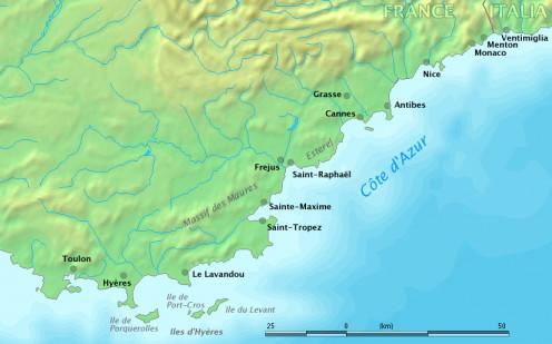 Map of the Côte d'Azur, France