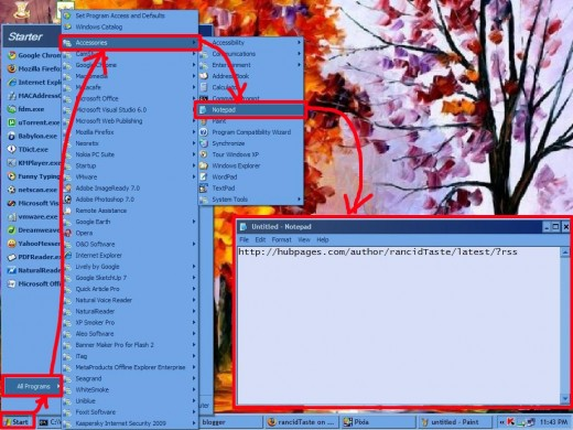 Pasting the RSS link on a notepad page
