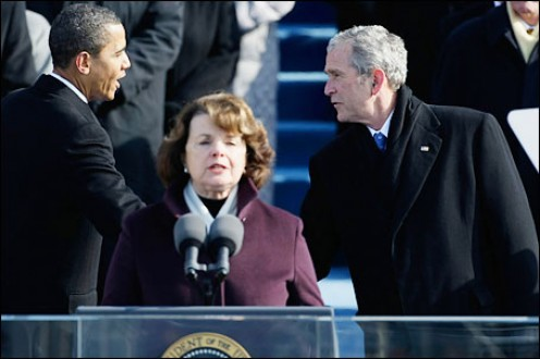 Incoming President Barack Obama, U.S. Senator Dianne Feinstein and outgoing President George W. Bush at Obama inauguration ceremonies.