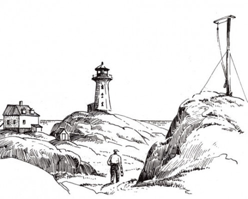 Image: The original and present Peggy's Cove Lighthouses