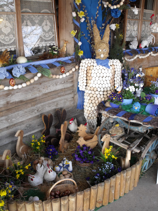 The Easter Bunny consists of hundreds of blown out egg shells glued to a body made of hay.