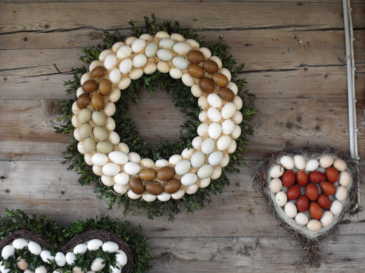 Wreath made out of blown out egg shells.