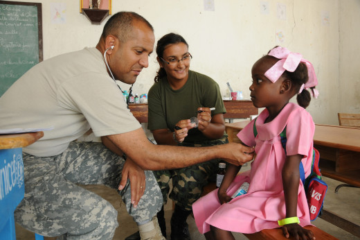A military physician at work overseas.