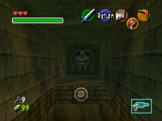 See that? Would you want to walk into that? no, but you have to. you also have to hookshot over an endless pit. no wonder link gets the triforce of courage...he's got balls.