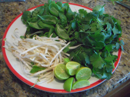 Prepare your garnishes and place it on the table so that you will be able to serve pho immediately. Pho is best very, very hot!