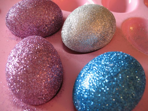 Blue, pink and silver Glitter Easter Eggs in Pink Bunny Egg Holder