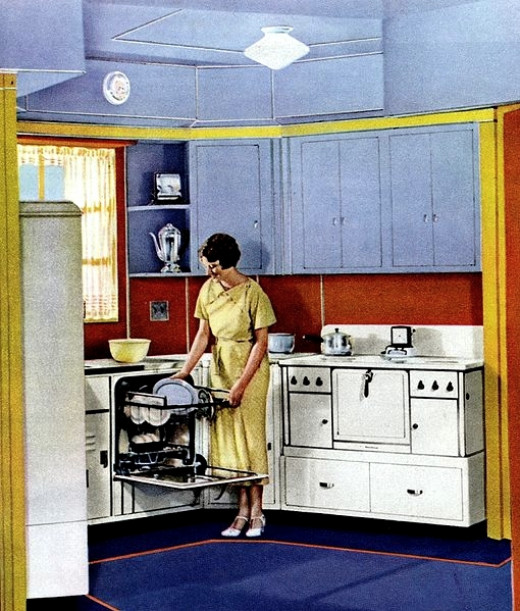 Dishwashers are nothing new. This image dates from 1937!