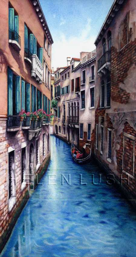 """Canal and Gondola"" by Helen Lush"