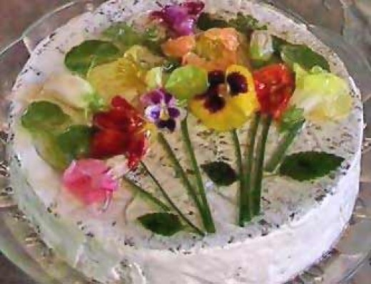 Beautiful edible flowers, almost too pretty to eat.