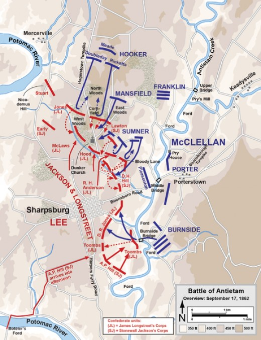 An overview of the battlefield dispositions. Once again the Confederacy are in red, with the Union in blue.