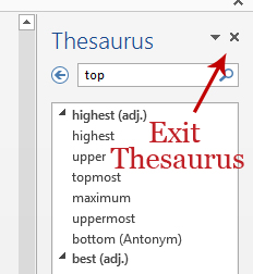To close the Thesaurus, click the X, screenshot Word 2013.
