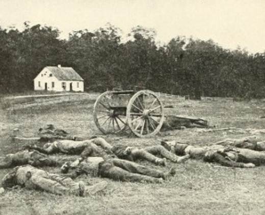 A photograph of Dunker Church taken in 1862 in the immediate aftermath of the battle.