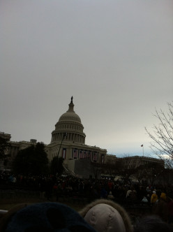 Early morning view of the Capitol on Inauguration Day 2013 from the orange viewing area.