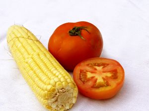 Sliced tomatoes and corn make a goiod summertime meal.