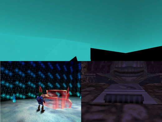 Top: this is what you see going down the hallway in the crystal pedestal room. Left: This is the crystal pedestal, shiny and all! err, sort of. Right: this is the pedestal of the ocarina. you're welcome :3