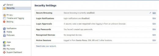 Look under Security and Privacy headings to find most of the settings