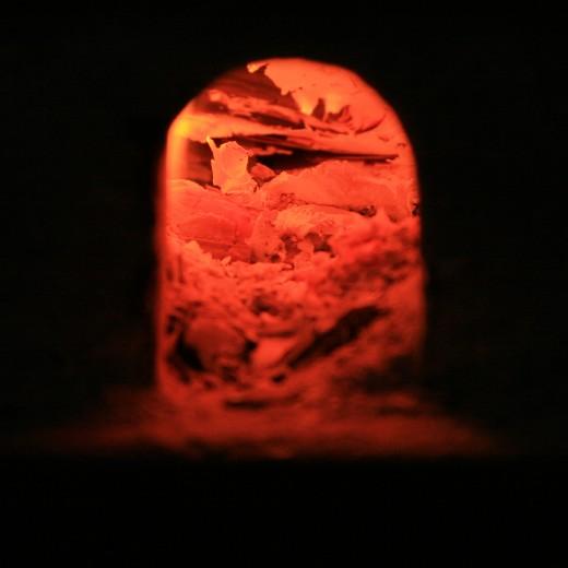 Live coals in antique stove