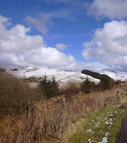 Snow capped hills at Ponterwyd in South Wales..