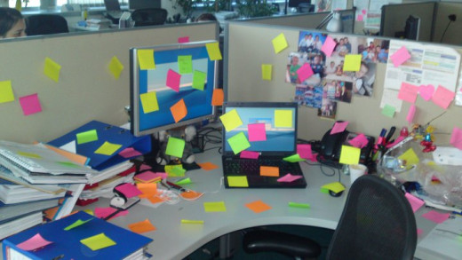 It's always fun to pull a prank on somebody – a colleague who is a post-it freak received some special attention from a few of us! :)