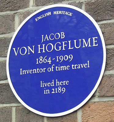 BLUE PLAQUE FOR A FICTITIOUS TIME TRAVELER IN LONDON