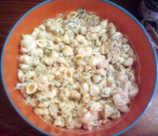Shrimp Pea Pasta Salad with Cashews