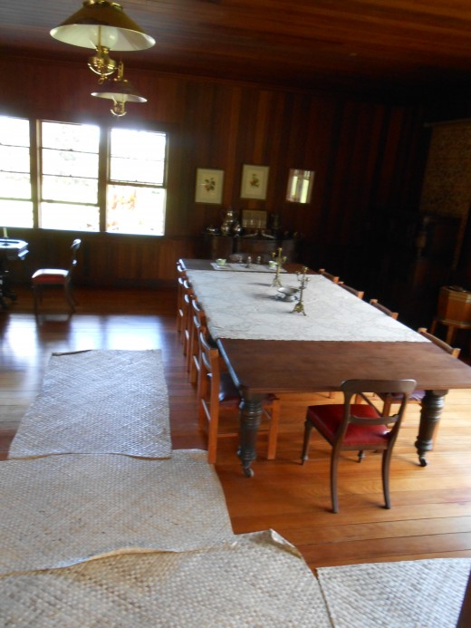 Gorgeous wooden table in the Vailima dining room.