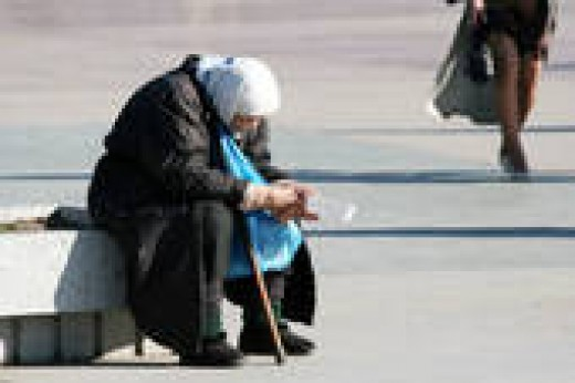 Homeless Old  Woman